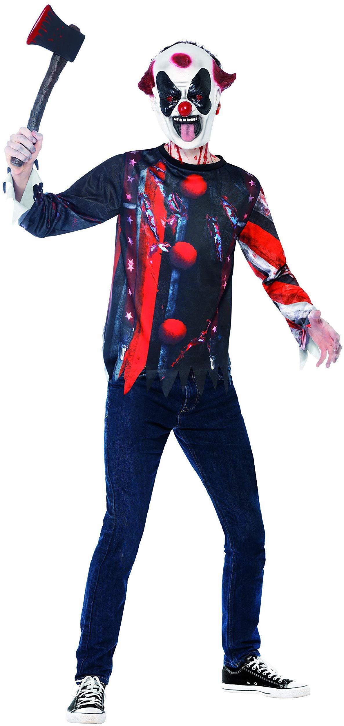 Halloween zestaw Smiffys złego clowna, z górną częścią i maską lateksową, druk sublimacyjny
