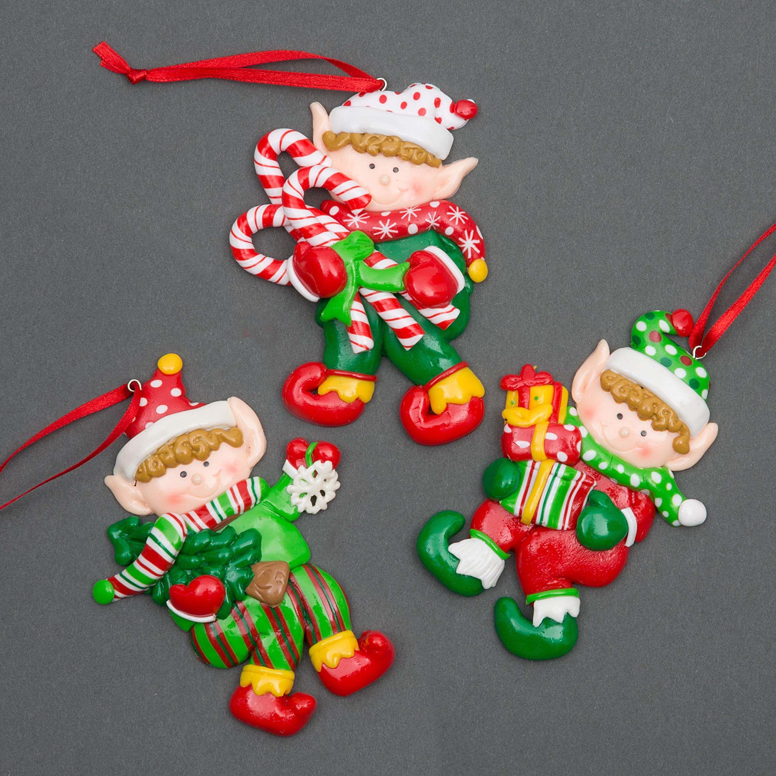 SHATCHI wiszące dekoracje elf trzymający prezenty cukierki Boże Narodzenie drzewo ściana dekoracja domu ozdoby 3 szt. zestaw, wielokolorowe, 11 x 6 cm