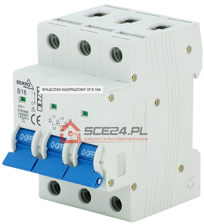 Wyłącznik nadprądowy 3P B 16A bezpiecznik 3F