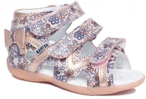Bartek 11707/7-V5T sandały sandałki profilaktyczne dziewczęce - róż złoty w niebieskie kwiaty