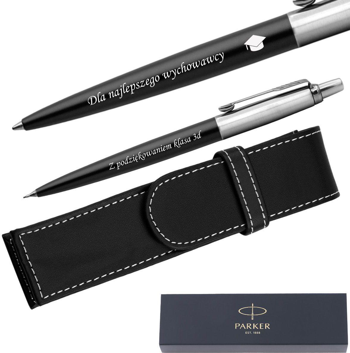 Zestaw Długopis + Ołówek Jotter Parker Czarny CT + Etui Grawer