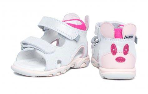 Bartek Baby 71144- SKW wysokie sandałki sandały dla dzieci - srebrne z myszką na zapiętku