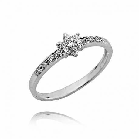 Pierścionek na zaręczyny z białego złota,brylanty 0,18ct