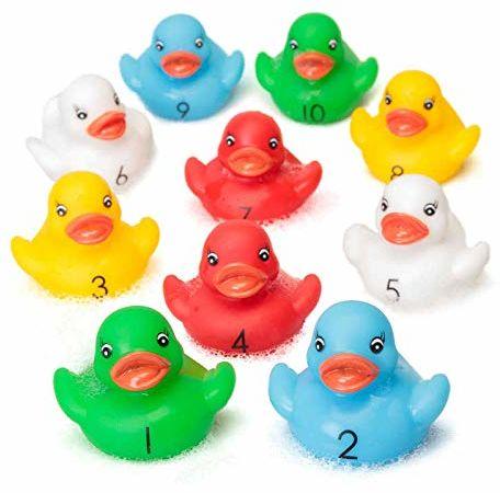 Contar patos de goma Tiempo Diversin y Aprendizaje en el Bao Nmeros de Aprendizaje Gran Remar o Nadar Juguete de Piscina.