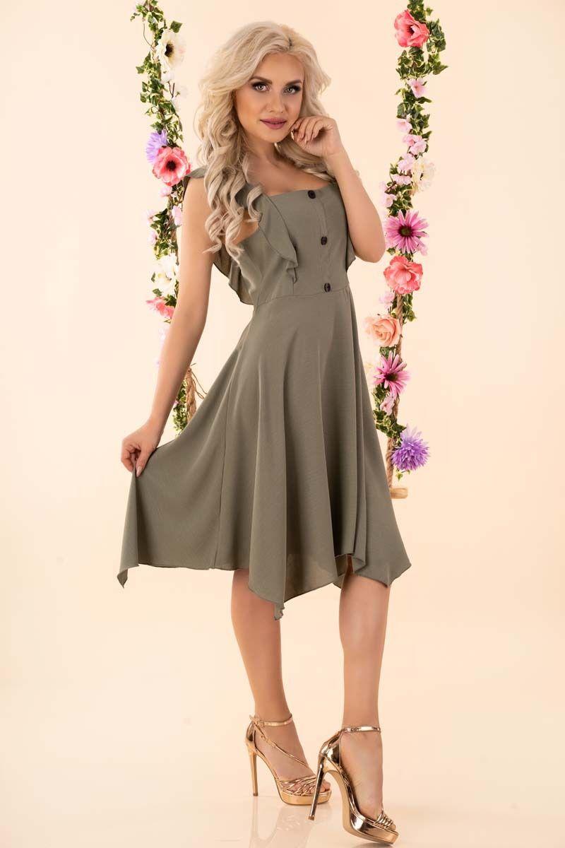 Asymetryczna sukienka z falbankami i guzikami - khaki