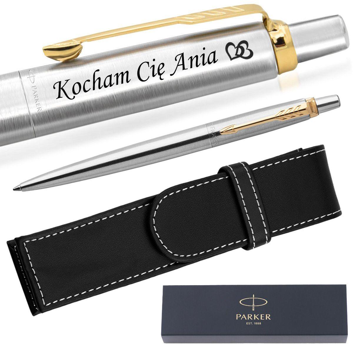 Długopis Parker Jotter stalowy GT + Etui Grawer