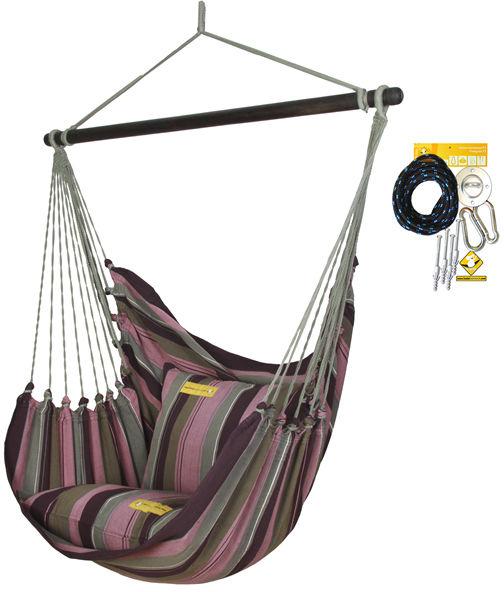 Fotel hamakowy HC10 z zestawem montażowym, Aubergine zhc10-255-koala/fix/ch1