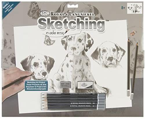 Royal & Langnickel 38 x 28 cm Dalmatyńczycy wstępnie wydrukowany zestaw do szkicowania łatwy do rysowania