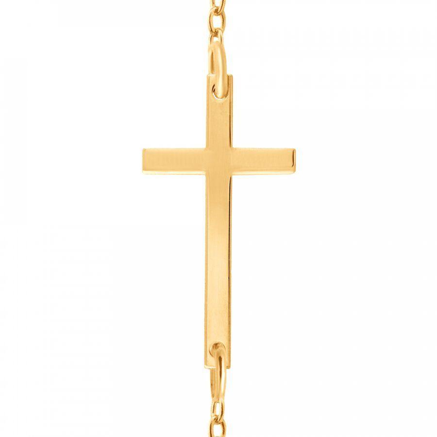 Srebrny Naszyjnik Złocony 925 Krzyżyk Grawer