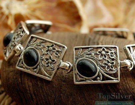 Karmen - srebrna bransoletka z onyksem