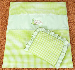 MAMO-TATO pościel 4-el Śpiący miś w zieleni do wózka