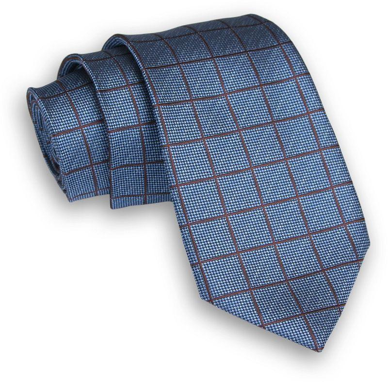 Niebiesko-Brązowy Klasyczny Męski Krawat -ALTIES- 7cm, Szeroki, w Grubą Kratę KRALTS0325
