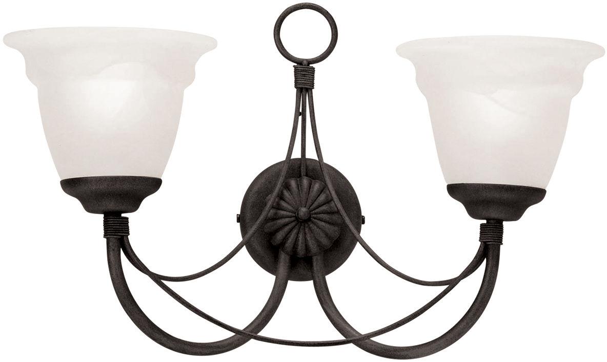 Kinkiet podwójny Carisbrooke CB2 BLK Elstead Lighting czarna oprawa w dekoracyjnym stylu