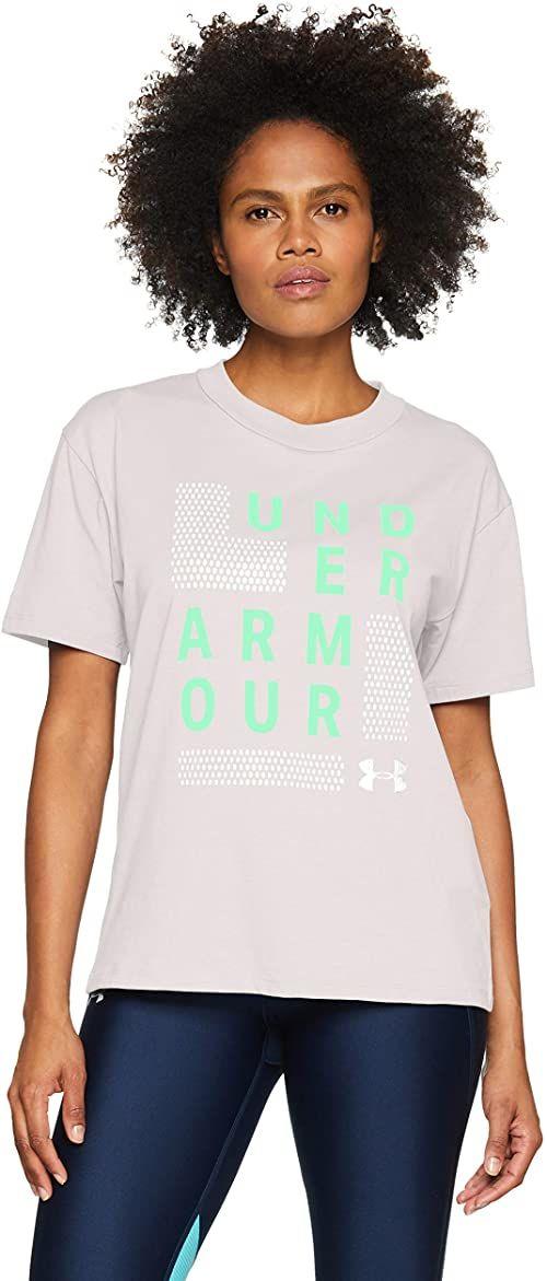 Under Armour Damska koszulka z krótkim rękawem Graphic Square Logo przyjaciółka Crew szary Ghost Gray/Green Typhoon/Metallic Silver XS