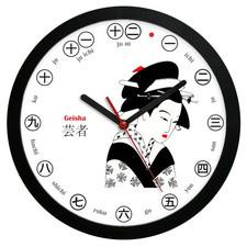Zegar ścienny solid Japonia gejsza