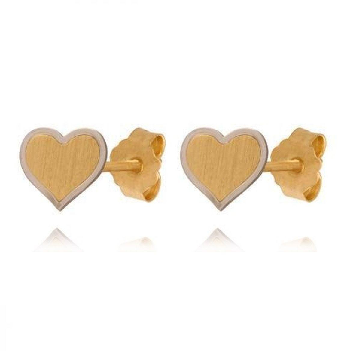 Kolczyki serduszka żółte i białe złoto próba 585