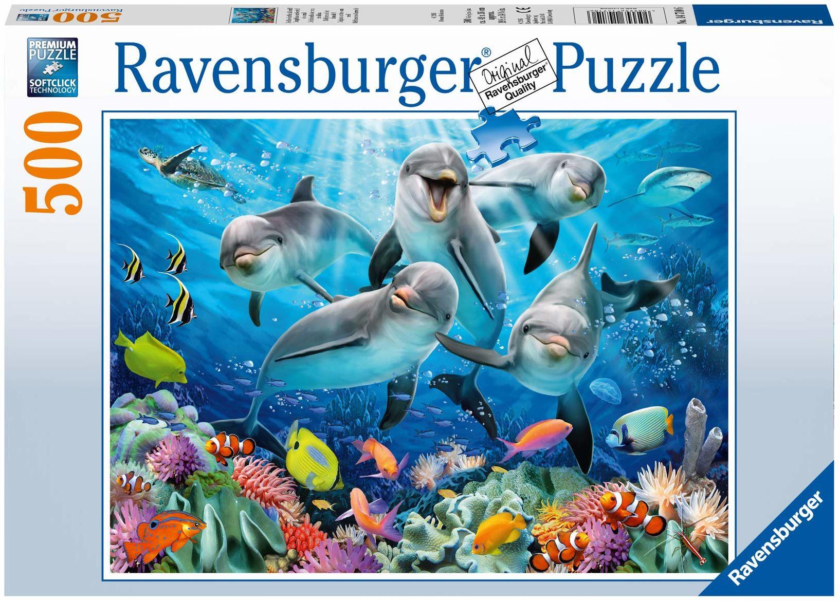 Ravensburger Puzzle 14710 Ravensburger Delfiny 500 Elementów Puzzle Dla Dorosłych (14710) Unikalne Elementy, Technologia Softclick - Klocki Pasują Idealnie