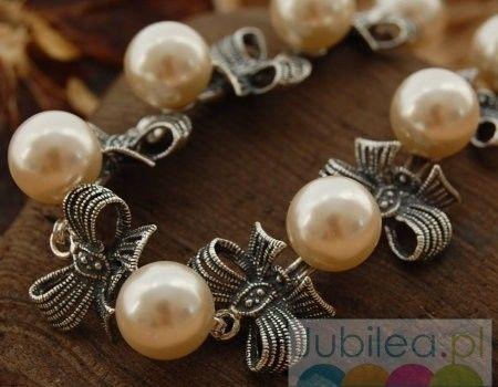 Kokarda - srebrna bransoleta z perłami