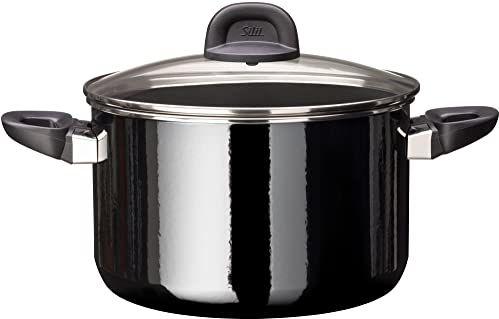 Silit Modesto Line garnek do gotowania, wysokość 24 cm, szklana pokrywka, garnek do mięsa 6,4 l, ceramika funkcyjna Silargan, garnek indukcyjny, czarny