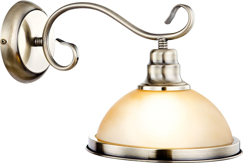 Globo kinkiet lampa ścienna Sassari 6905-1W patyna szkło bursztynowe