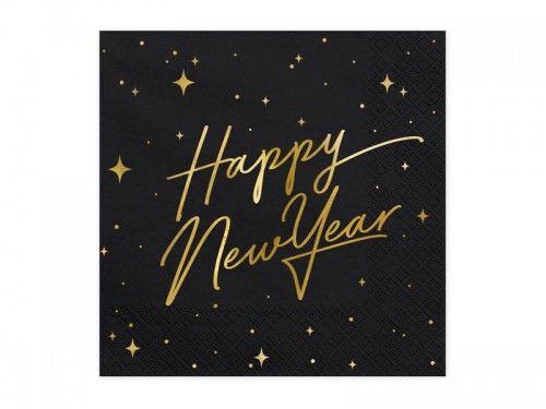 Serwetki na Sylwestra Happy New Year, czarne 20 szt.