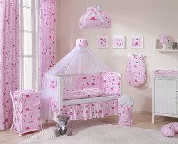 MAMO-TATO Moskitiera baldachim z szarfą z tkaniny Kotki różowe