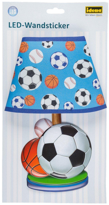Idena 31255 - naklejka ścienna LED lampa piłka nożna, z czujnikiem światła, ok. 31 x 18 cm