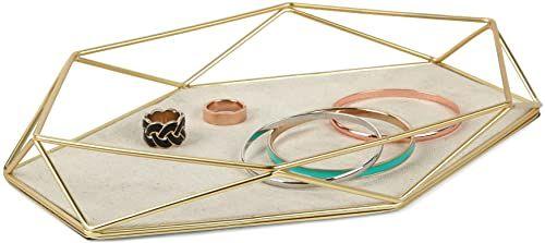 Umbra Prisma półka na biżuterię  taca na pierścionki, kolczyki, bransoletki, zegarki i inne akcesoria, metal/matowe złoto