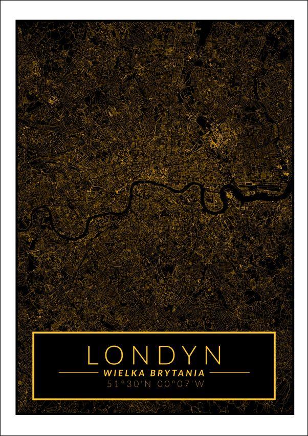 Londyn mapa złota - plakat wymiar do wyboru: 29,7x42 cm