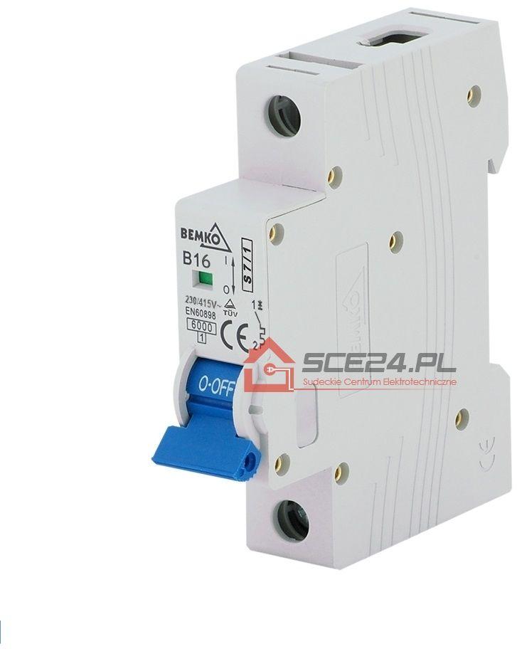 Wyłącznik nadprądowy 1P B 16A bezpiecznik 1F