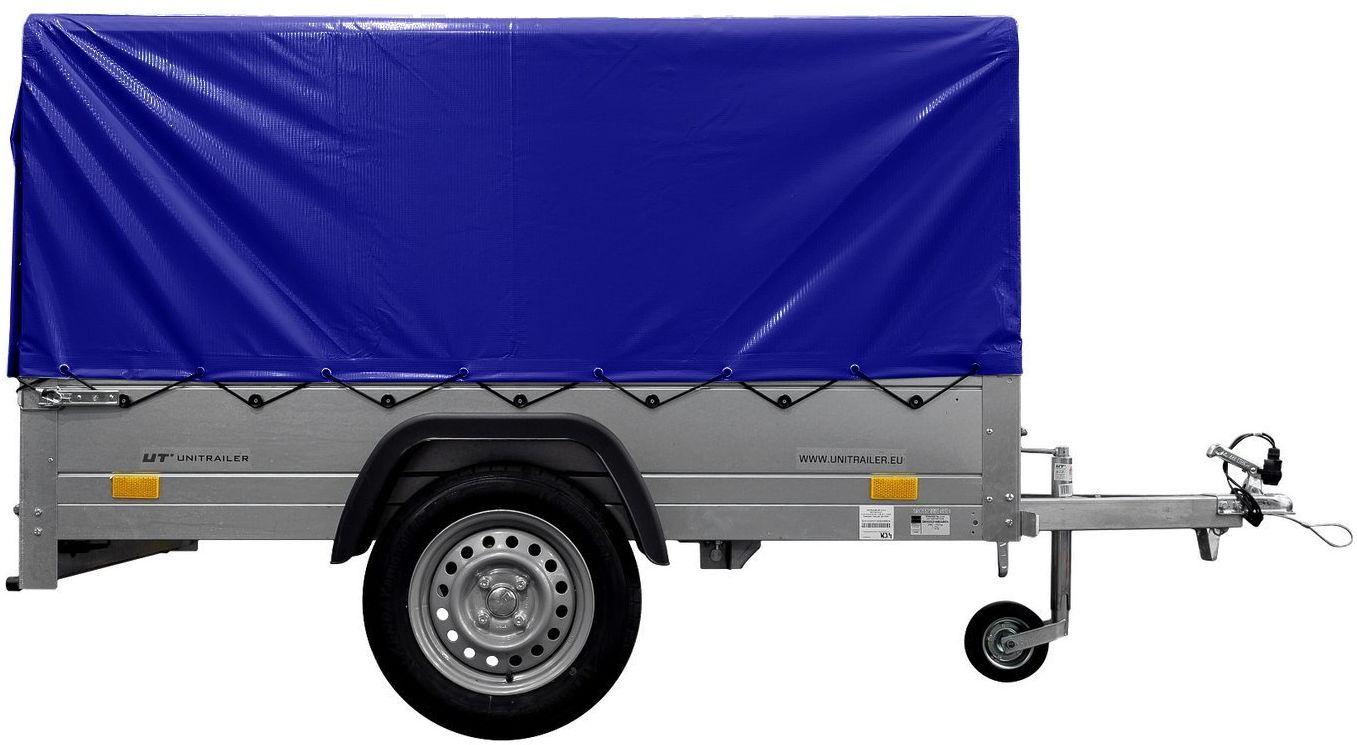 Przyczepka z kiprem lekka 150x106 z plandeką niebieską i stelażem DMC 750 KG Garden Trailer 150 KIPP