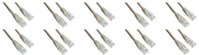 10 x Kabel sieciowy patch cord RJ45 Netrack BZPAT05U5E, UTP, kat. 5e, 10 x 0.5m, szary
