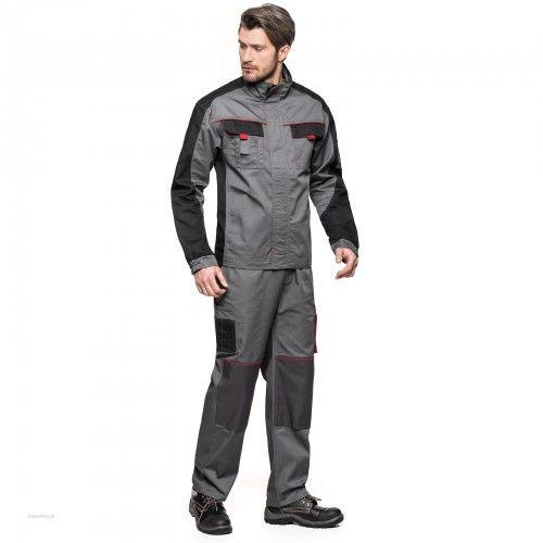 Bluza robocza AVACORE LENNOX szaro-czarna z czerwonymi elementami