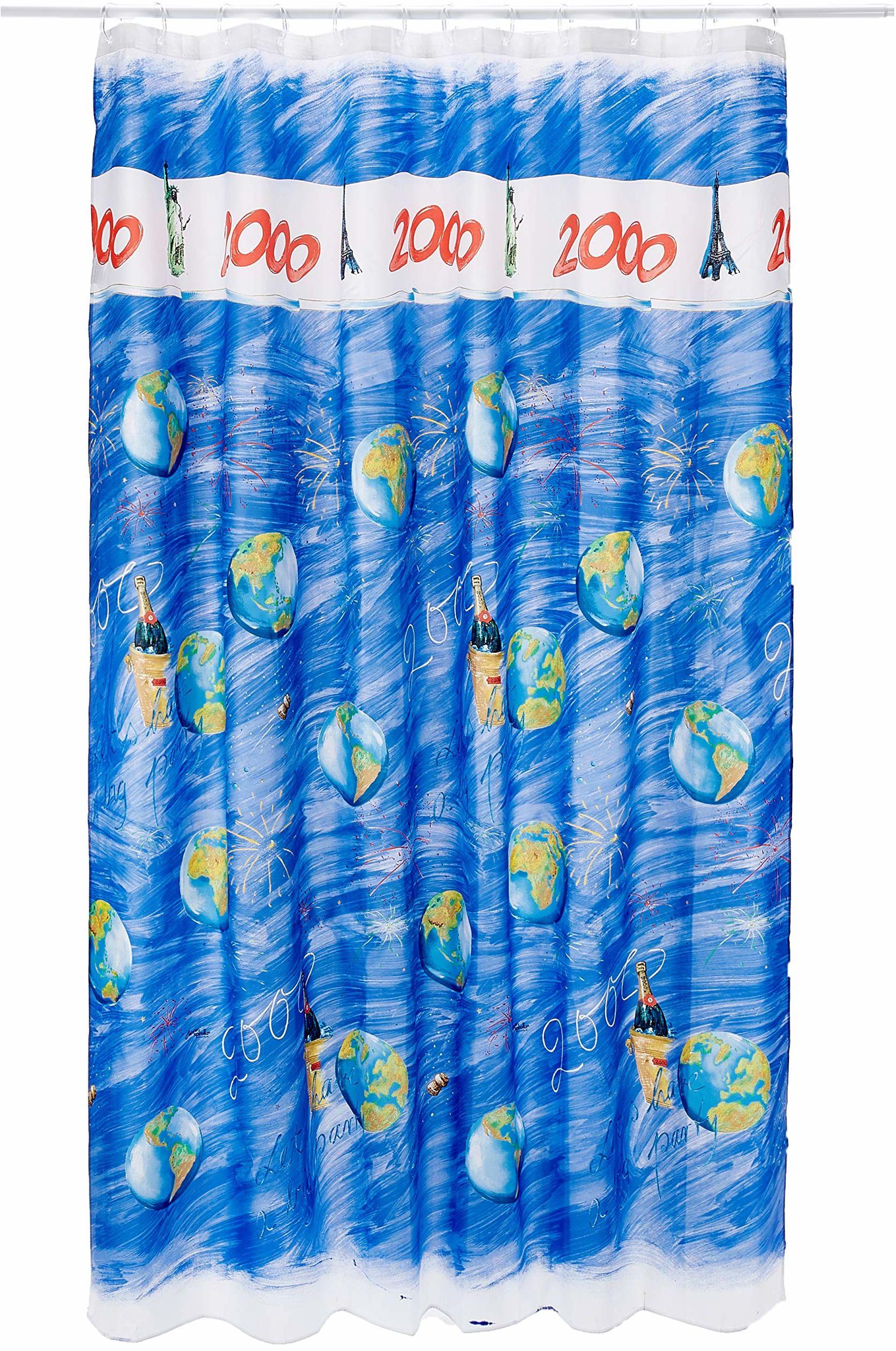 Spirella Zasłona tekstylna 2000 wielokolorowa 180 x 200 1240434, biała, Estandar