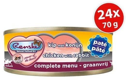 Renske fresh meat chicken & rabbit pate 24x70g