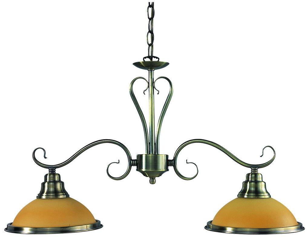 Globo lampa wisząca Sassari 6905-2 podwójna patynowana z bursztynowymi kloszami 63,5cm