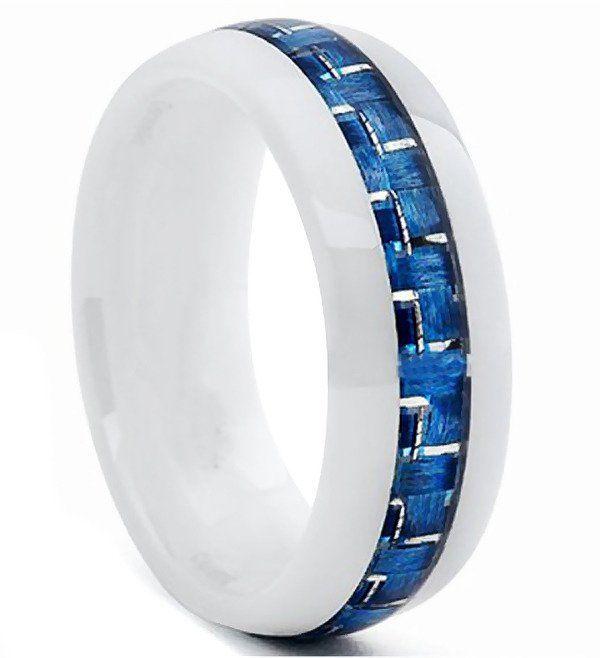 Obrączka Biała Ceramika z Niebieską Wstawką