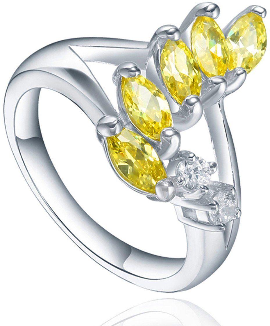 Srebrny Pierścionek z Zółtymi Kamieniami