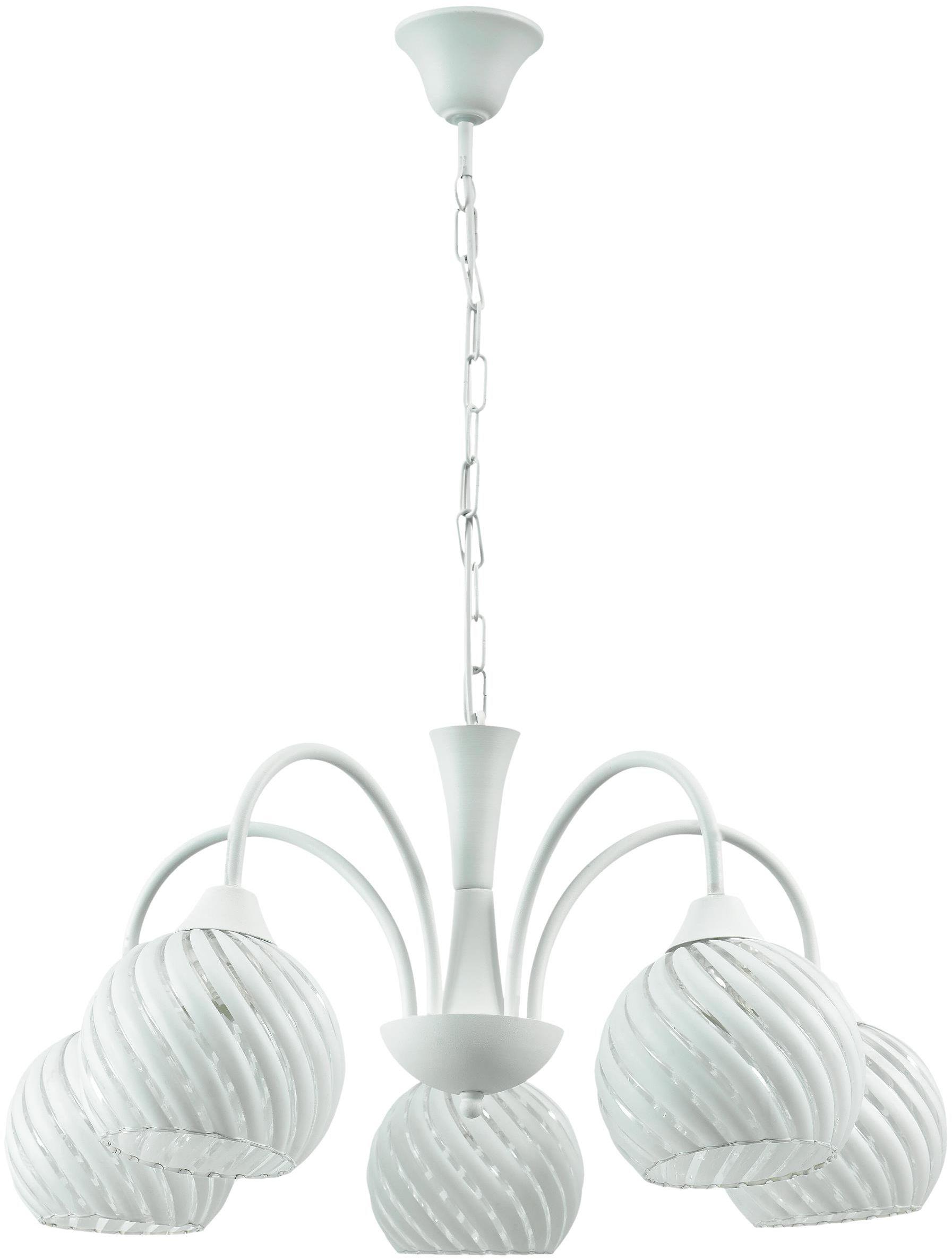 Lampex Balts 5 361/5 lampa wisząca klasyczna kuliste klosze ze spiralnym motywem 5x60W E27 52cm