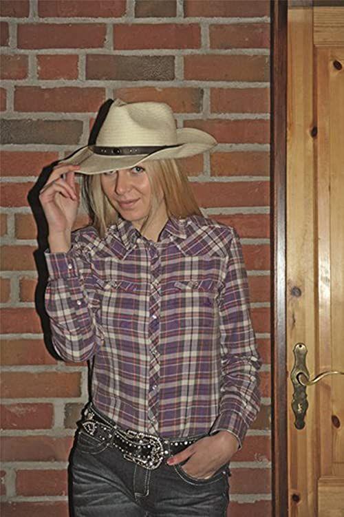HKM Bluzka westernowa -Texas Fashion-3573 spodnie, 3573 liliowa/karo, M