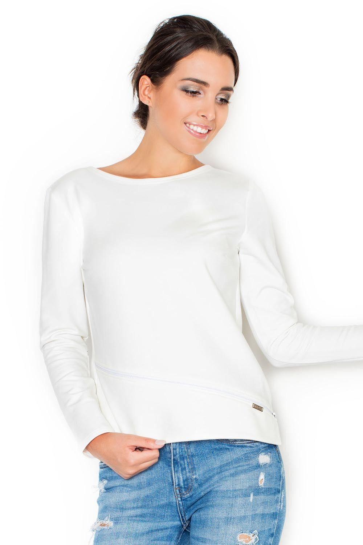 Ecru bluzka damska z ozdobnym suwakiem