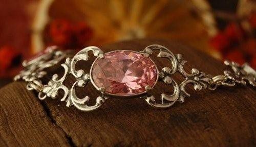 Campo - srebrna bransoletka z różowym kryształem