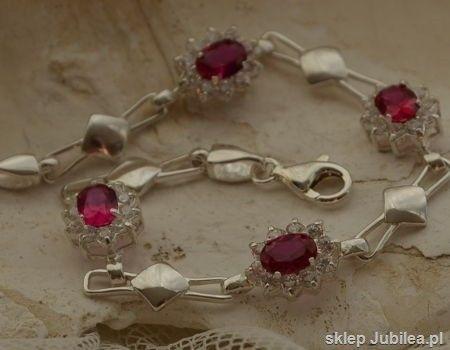 Manhattan - srebrna bransoletka z rubinami i cyrko