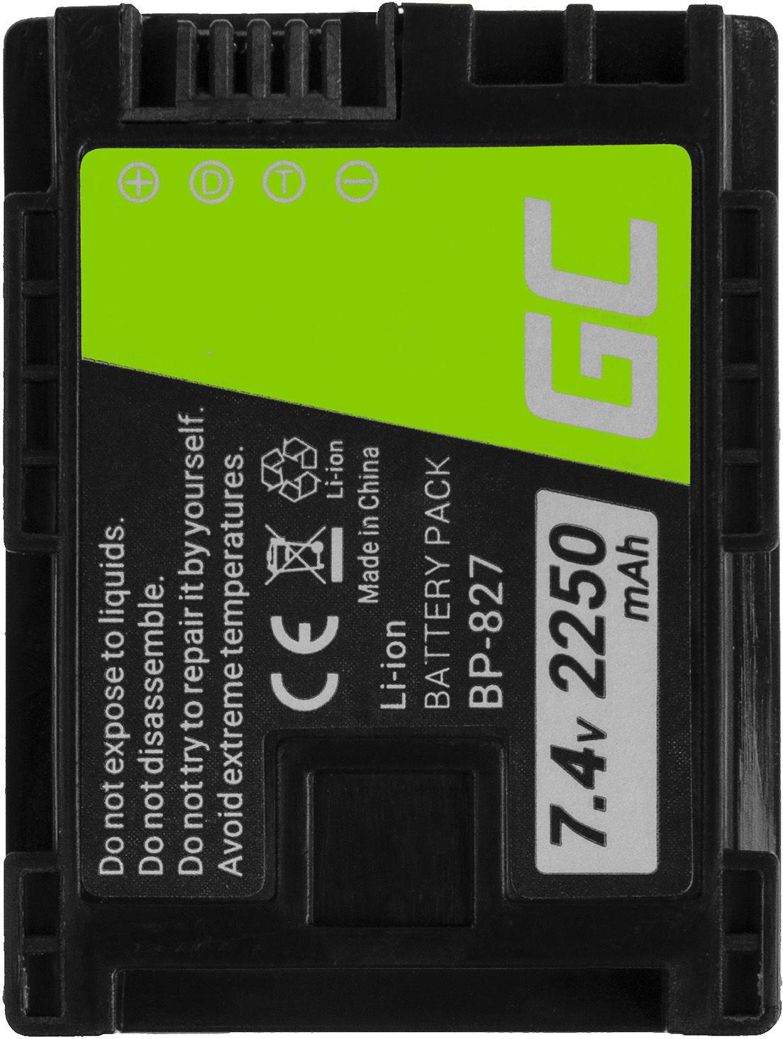 Akumulator Bateria Green Cell  BP-808 BP-809 BP-827 do Canon HF G10 S10 S21 S30 S100 S200 FS11 HF11 HF20 LEGRIA 7.4V 2250mAh