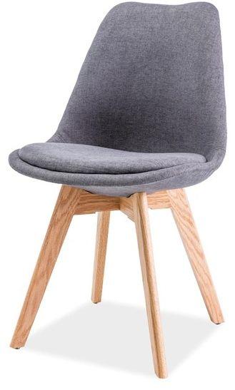 Krzesło DIOR ciemno szare/dąb z drewnianą podstawą i tapicerowanym siedziskiem  KUP TERAZ - OTRZYMAJ RABAT