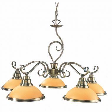 Globo lampa wisząca Sassari 6905-5 patyna bursztynowe klosze 65cm