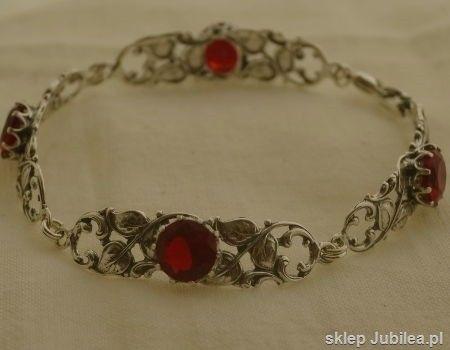 Zorro - srebrna bransoletka z rubinami
