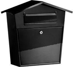 Premier Housewares Skrzynka na listy czarna skrzynka pocztowa skrzynki na listy zewnętrzne wodoodporne metalowe pudełko na paczki skrzynki na listy czarna skrzynka na listy 37 wys. x 38 szer. x 14 d