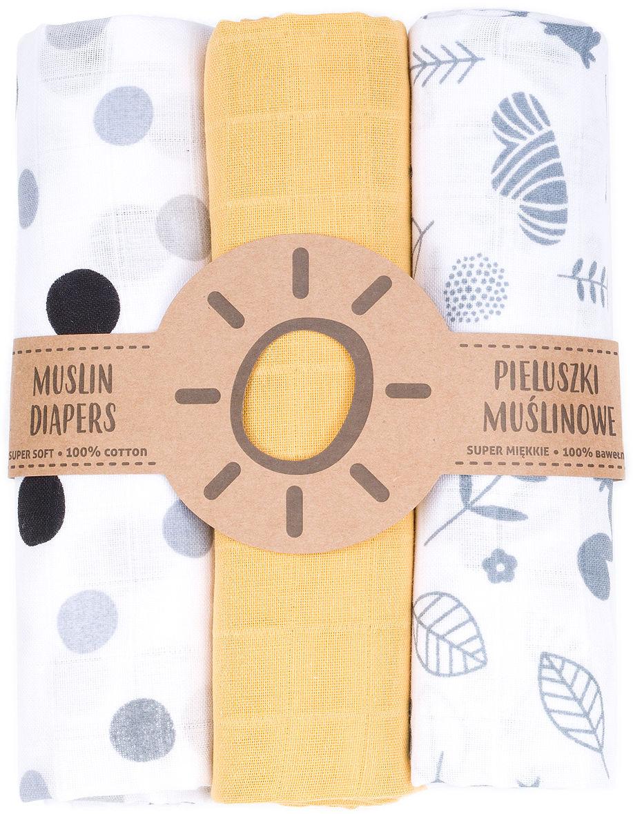 MAMO-TATO Pieluszki muślinowe dla niemowląt 3szt 80x80 + myjka - 17