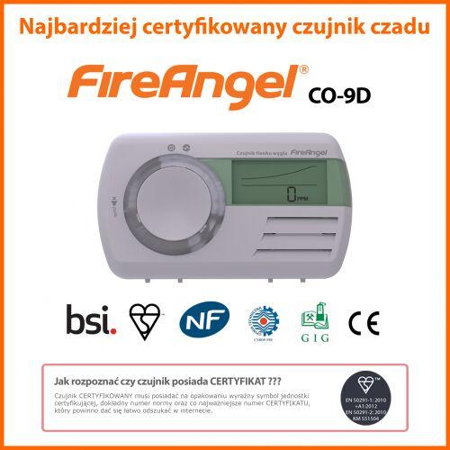 CO-9D FIREANGEL Czujnik tlenku węgla (czadu) z LCD